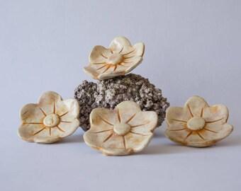 4 ceramic orange pastel enamel flowers, pink