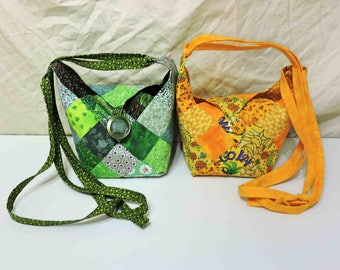 Mini Bitty Quilt Patchwork Fashion Purses With Button Closure and Fully Lined