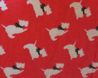 Red and Gray Scottie Dogs Flannel -Baby/ Toddler Crib Sheet-Fitted Crib Sheet-Sheets- Bedding-Nursery-