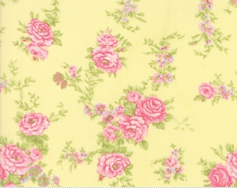CLEARANCE - Fleurs Buttercup - Pink Roses on Yellow Floral Fabric -  Brenda Riddle - Moda 18630 14 - 1 Yard Cut BTY - Shabby Cottage Chic