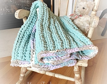 Crochet Baby Blanket, Chenille Baby Afghan, Chunky Crochet Baby Blanket, Knit Baby Blanket, Seafoam Green Baby Blanket, with Pastel Border