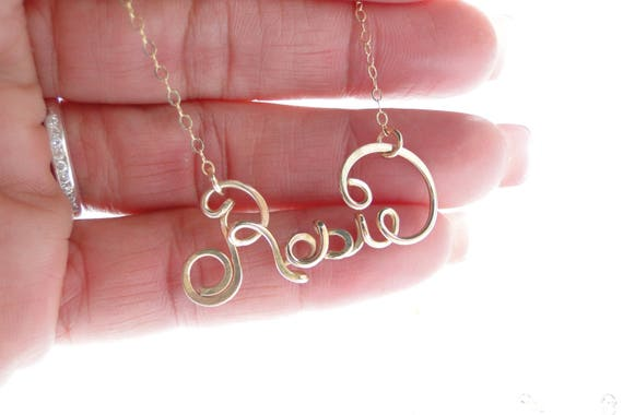 Gold Name Necklace, Custom Name Necklace, Personalized Wire Name Necklace, Personalized Necklace, Silver Name Necklace, Bridesmaid Gift