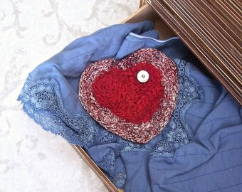 Red Silk Heart - Organic Lavender Filled Unique Heart Shaped Silk Tapestry Sachet - Valentine's Day, Mother's Day, Wedding Anniversary Gift
