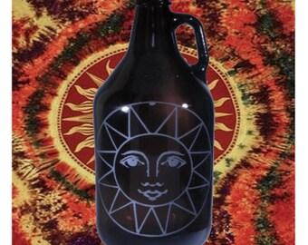 Hippie Sun Hand-Etched 64oz Amber Beer Growler
