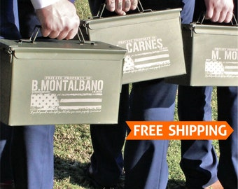 Groomsmen Gift Set, Groom gift from Bride Ammo Box Wedding Officiant Gift for Groomsmen Father of the Bride Military Wedding Ammo Can