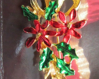 Vintage Poinsettia and Holly Christmas Brooch