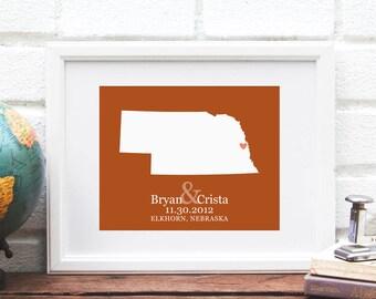 Nebraska Art State Map Print, Personalized Nebraska State Map, Custom Wedding Gift, State Map Print, Gifts Under 25 -  Art Print