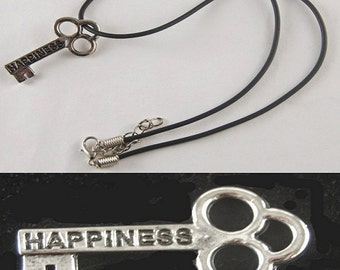"""Happiness Mini Key Necklace with 18"""" - 19 1/2"""" Adjustable Black Cord"""