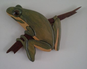 Australian Timber Intarsia Frogs