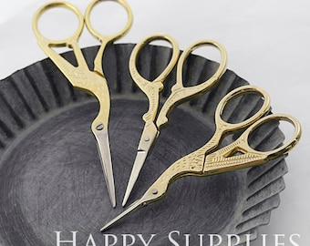 1pcs High Quality Vintage Style Stainless Steel Gold Plated Crane Scissors
