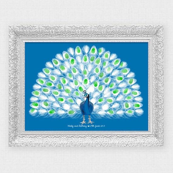 Guest Book Printing: Peacock Wedding Fingerprint Guest Book Printable File