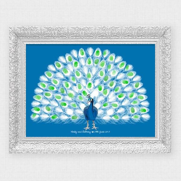 Peacock wedding fingerprint guest book printable file zoom solutioingenieria Choice Image