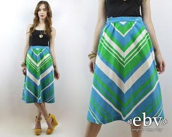 Vintage 70s High Waisted Chevron Skirt S High Waist Skirt High Waisted Skirt Summer Skirt 1970s Skirt 70s Skirt Blue Skirt Hippie Skirt