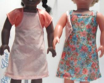 """Peach Shrug Flowers Square neck & Sleeveless Knee Length Dress 18"""" Doll Clothes"""