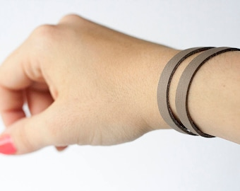 Leather Bracelet / Double Strand Cuff / Matte Gray