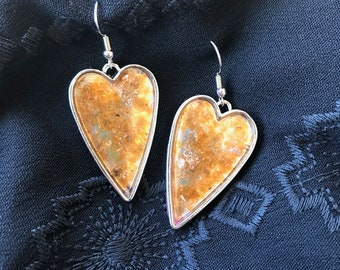 Rust Gold Heart Earrings