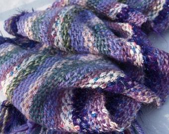 Spring Violets hand-woven lightweight warm scarf
