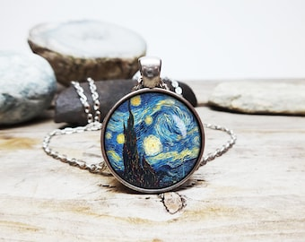starry night necklace Vincent van Gogh Painting van gogh Necklace van gogh necklace van gogh artist jewelry impressionist art lover gift