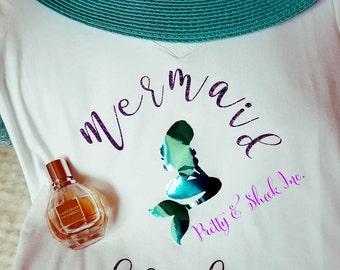 Mermaid Bride Shirt,V neck ,Bachelorette Party Shirts, Disney Inspired, Bride and Bridesmaid,Bride Tribe,mermaid squad