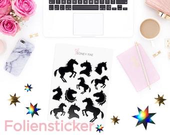 Foiled Shadow horses Stickerset-Watercolour sticker-Pretty planning-scrapbooking-bullet journaling