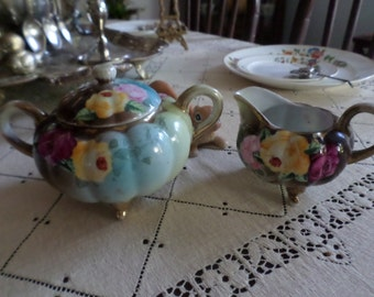 Stunning Vintage Bisque Porcelain Colorful Vivid Floral Spray Creamer & Sugar Set