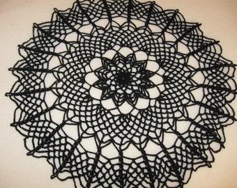 Spider web doily, black lace doily, Halloween decor