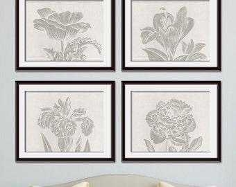 Botanical Wild Flower Impressions (Series B Horizontal) Set of 4 Art Prints (Featured in Gravel on Silk Gown) Botanical Plant Sketch Art