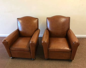 Pair Vintage French Leather Club Chairs