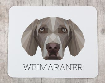 A computer mouse pad with a Weimaraner dog. A new collection with the geometric dog