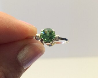 Peridot Ring Swarovski Crystal Ring Wire Wrapped Jewelry Handmade Jewelry Swarovski Solitaire Ring Stackable Ring
