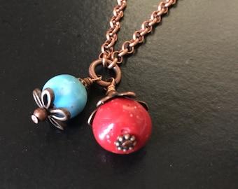 Simply Elegant Ceramic Bead Copper Long Necklace