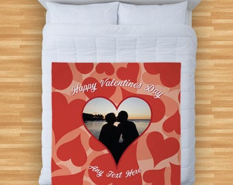 Valentines Day Gift Personalised Photo Heart Design Soft Fleece Blanket Cover Throw Over Sofa Bed Blanket