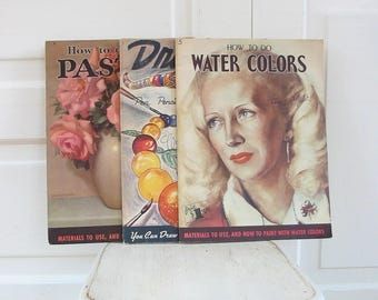 Vintage How To Draw, How to Water Color, How To Workbook, Walter Foster Workbook, How to Paint Book, Drawing Workbook, Painting Workbook