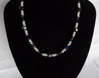 Blue/silver necklace, magnetic clasp UK shop