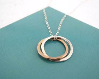 Silver and Gold Circle Sterling Silver Mixing Two Tone Pendant Charm Necklace, hammered and textured, customized