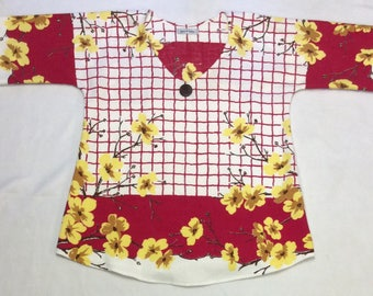 S/M Vintage Repurposed Tablecloth Tunic -  Red and Yellow Floral
