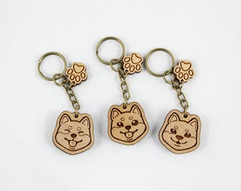 Cute Shiba Inu Happy Face Keychain Charm with Paw Attachment - Laser Engraved Wood - Pet Dog Animal Lover Accessory