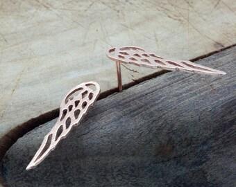 Rose Gold Angel Wings Earrings, Guardian Angel Wings Studs, Unique Gold Wings, Angel Wing Jewelry, Minimalist Dainty Wedding Earrings
