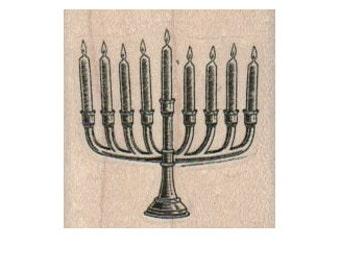 Rubber stamp Menorrah   Jewish candles holiday celebration stamping scrapbooking supplies number 2771