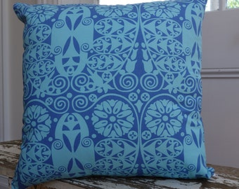 """Square Cushion Cover in Amy Butler Soul Blossoms """"Temple Doors"""" Deep Water Blue Fabric with French Linen Backing"""