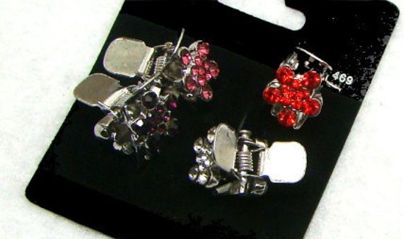 Puppy Bows ~  Set of 4 super tiny flower rhinestone jaw clips pet hair barrette (rh1)