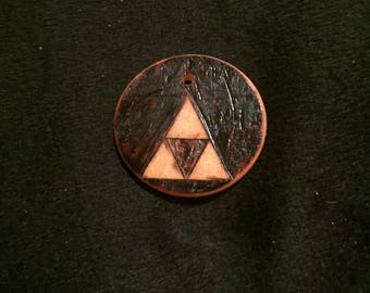 Handmade Woodburned Zelda Triforce Necklace