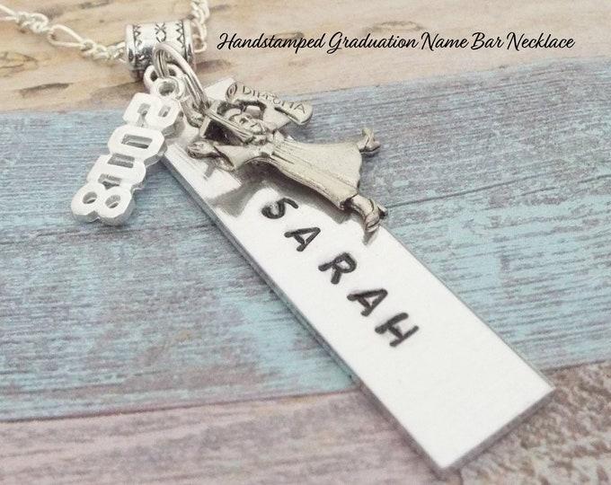 Graduation Necklace, Graduation Gift, Name Bar Necklace for Girl Graduation, High School Graduation Gifts, Girl's Graduation, College Grad