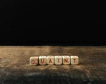 Vintage Quaint Sign, Shabby Chic Decor, Letter Blocks, Scrabble Blocks, Rustic Decor, Scrabble Cubes, Letter Tiles
