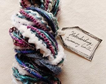 Cosmic Stream lilac deep blue pastel puffy fringe glitter ribbon Novelty Fiber Yarn Sampler Bundle