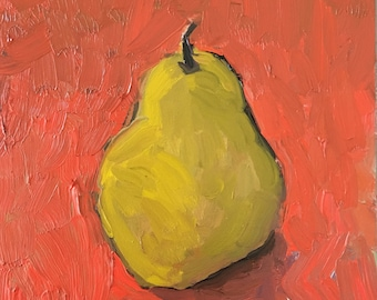 "Pear painting, art and collectibles, fine art, still life, fruit, kitchen art, small painting, wall candy, 6x6"" gessobord, impressionist"