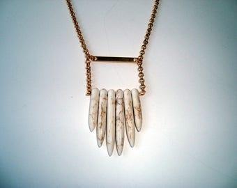 White Gemstone Point Bead Necklace, Minimalist, Gemstone Jewelry,  Bohemian, Boho, White Gemstone, Fun Jewelry
