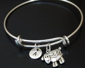Sheep Bangle Bracelet, Adjustable Expandable Bangle Bracelet, Sheep Charm Bracelet, Sheep Jewelry, Farmer Gift, farmer shepherd,Farmers wife