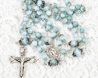 Blue Larimar Catholic Rosary, Handmade, Heirloom Rosaries Gift for Women - Bali Sterling Silver, Swarovski Crystals, Miraculous Medal Center