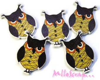 Set of 5 wooden decorated OWL embellishment scrapbooking buttons *.